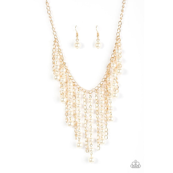 Paparazzi STUN Control - Gold Pearl Necklace - A Finishing Touch