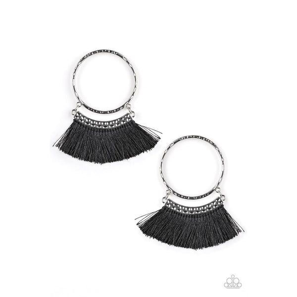 Paparazzi This Is Sparta! - Black Hoop Earrings - A Finishing Touch