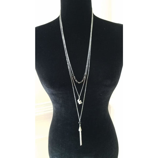 Paparazzi Three Layer Silver Necklace with Black Beads, Bird and Tassel - A Finishing Touch