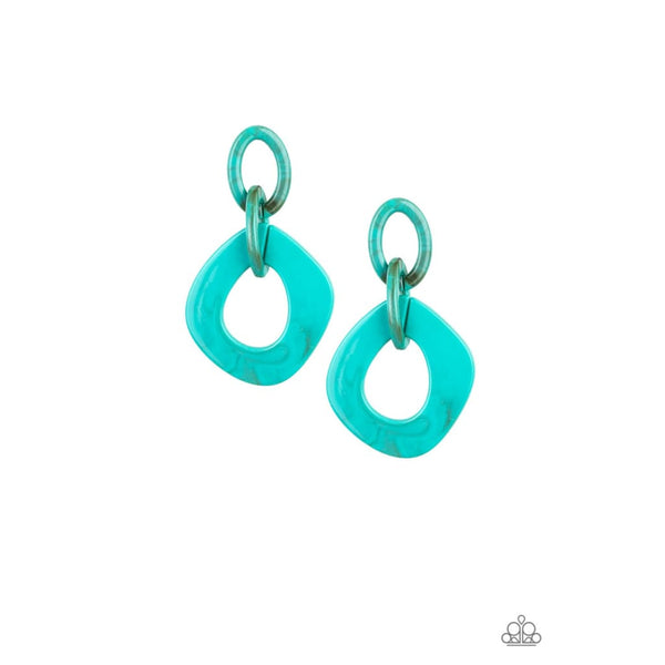 Paparazzi Torrid Tropicana - Blue Earrings - A Finishing Touch
