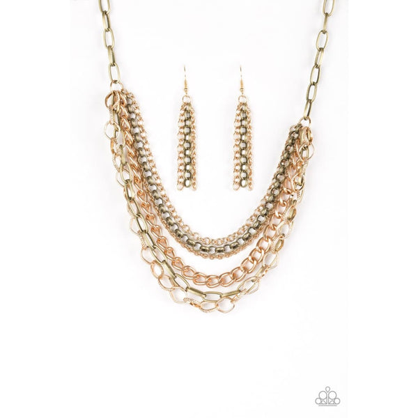 Paparazzi Word On The Street - Brass Necklace - A Finishing Touch