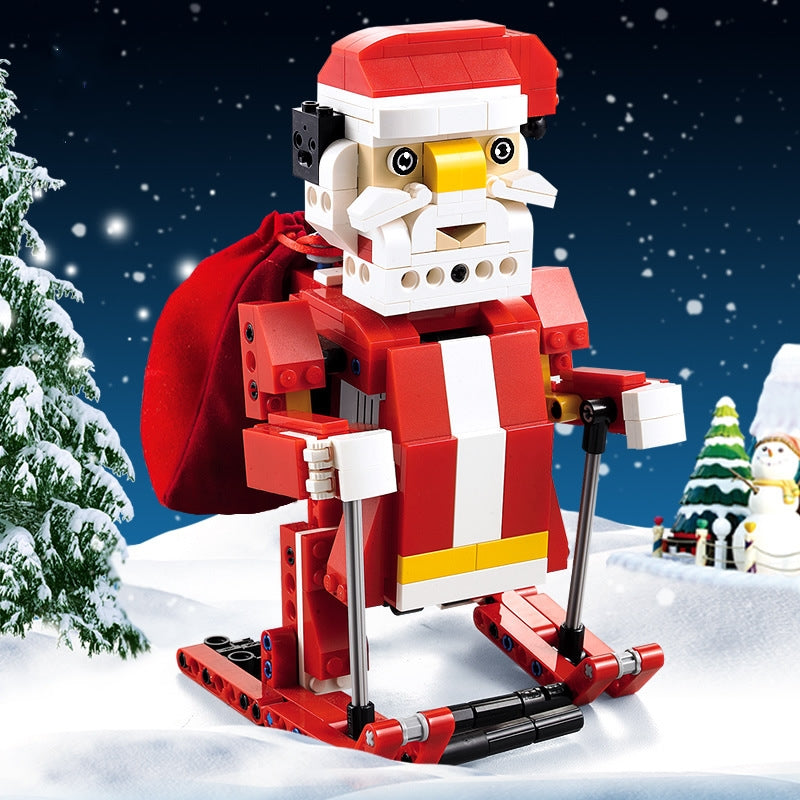 50% OFF-2 in 1 Santa Claus and Snowmobile Building Blocks with Sound and Light Sensor