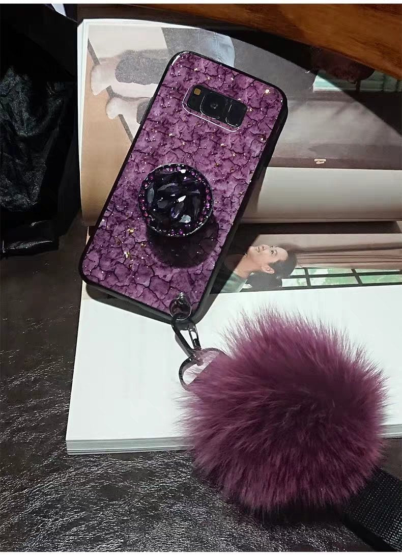 2019 New Fashion hair ball Crystal airbag bracket case for Samsung