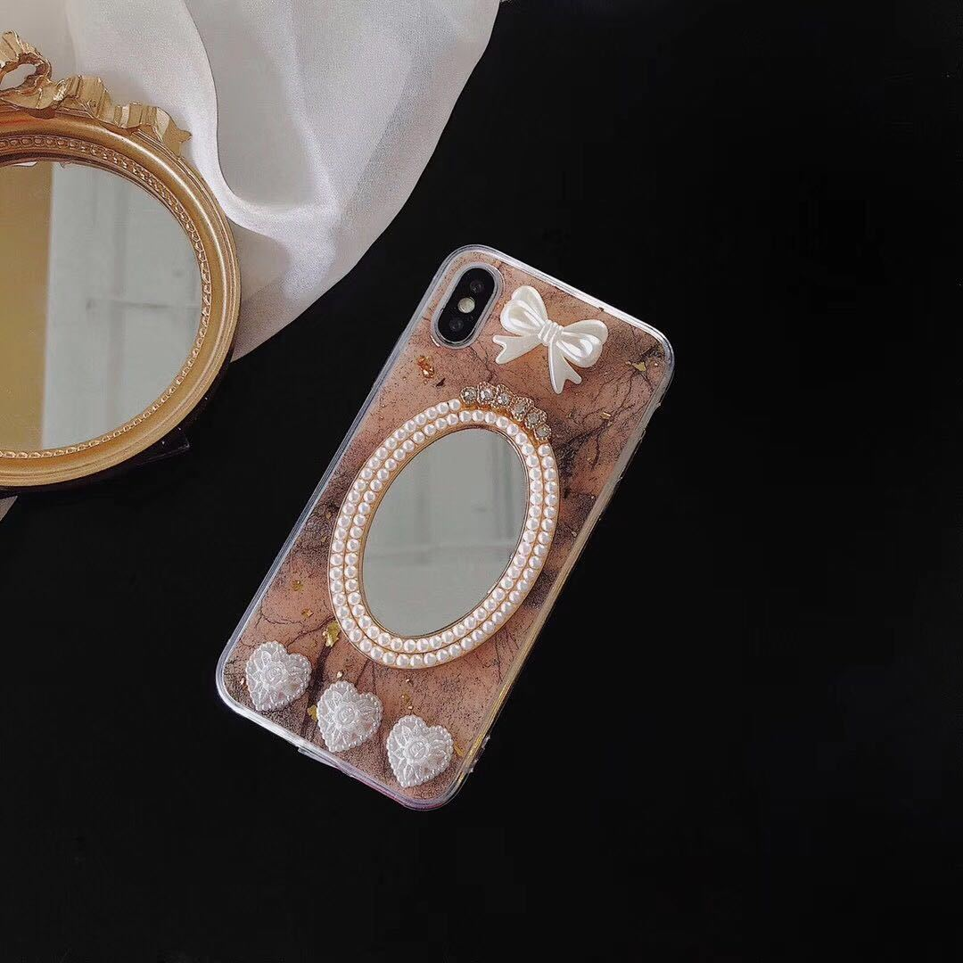 2019 New Fashion Pearl Diamond Mirror Crystal Case for iPhone