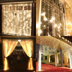 100 LED Curtain Lights, Starry Christmas String Light