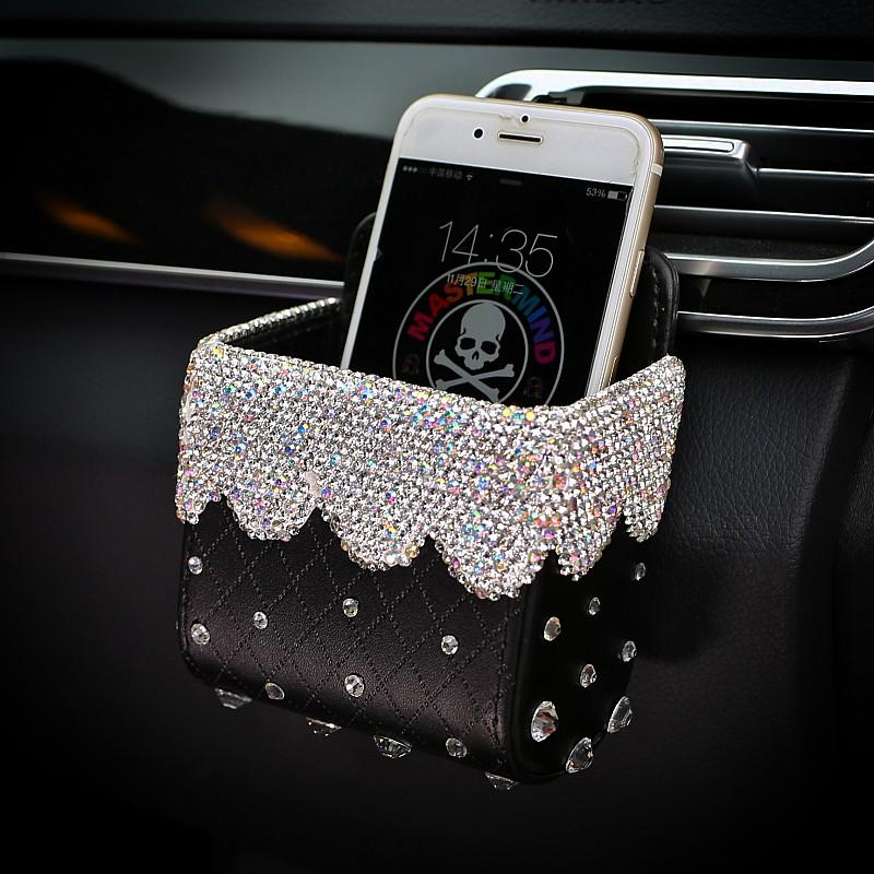 Bling Car Air Vent Cellphone Pocket Pouch Box Storage Organizer