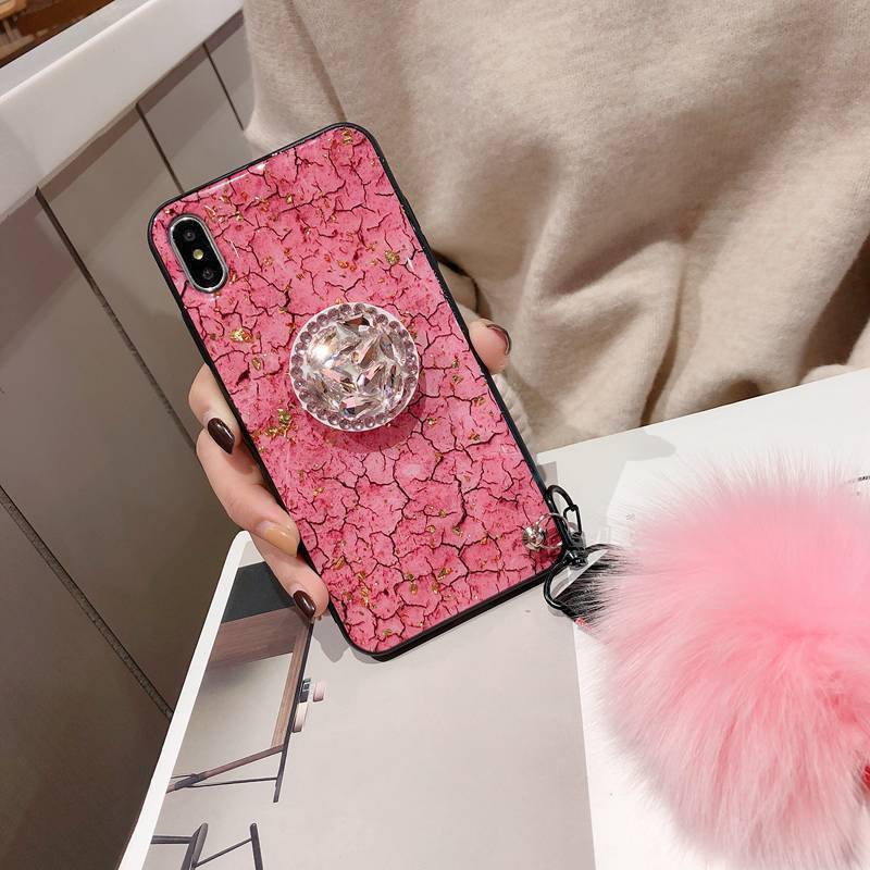 2019 New Fashion hair ball Crystal airbag bracket case for iPhone