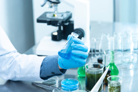 Lab setting with technician holding a blue liquid with others on the table