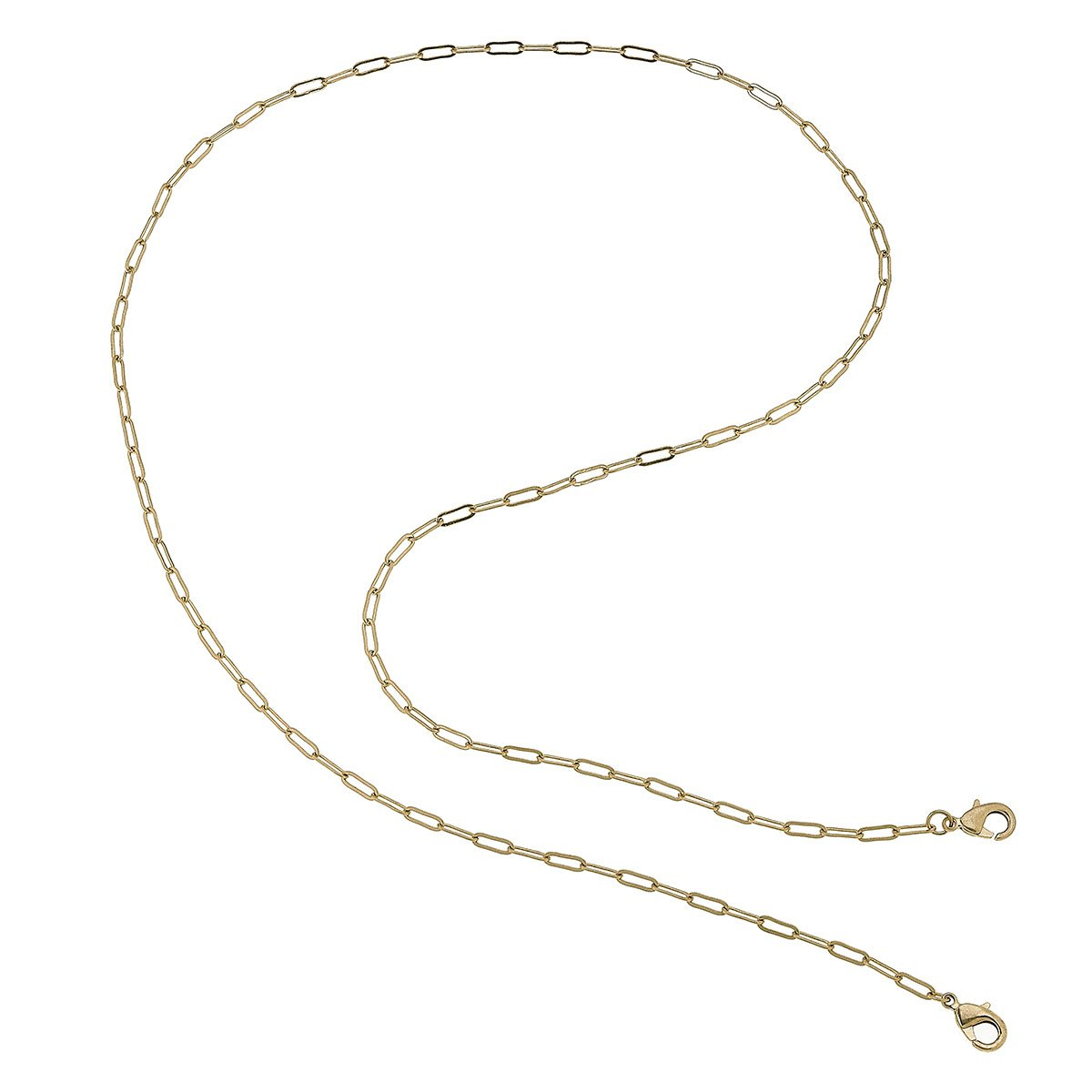 Soleil Small Paperclip Chain Mask Necklace in Gold - 32""