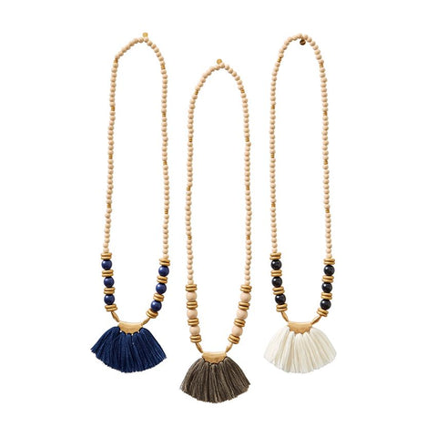Wooded Bead Tassel Necklace