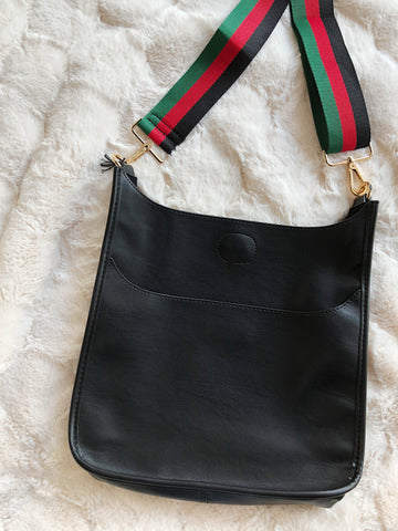 Black Messenger Bag with Gucci Strap