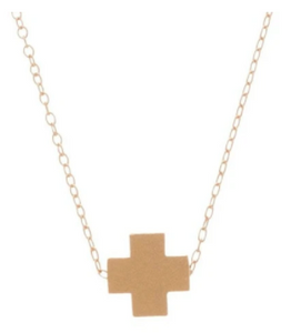 "16"" Gold Signature Cross Necklace"