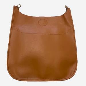 Faux Leather Messenger Bag - Camel