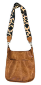 Camel Messenger with Leopard Strap