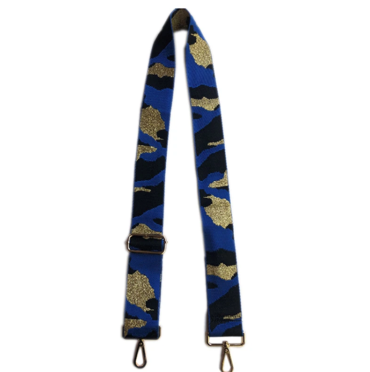 "2"" Adjustable Camouflage Bag Strap w/Metallic Thread - Blue"