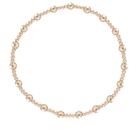 Sincerity Pattern 4mm Bead Bracelet - Gold