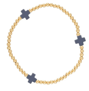 Onyx Signature Cross Gold Bead Bracelet - 3mm