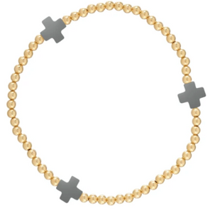 Charcoal Signature Cross Gold Bead Bracelet - 3mm