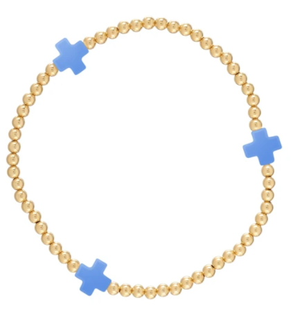 Cobalt Signature Cross Gold Bead Bracelet - 3mm