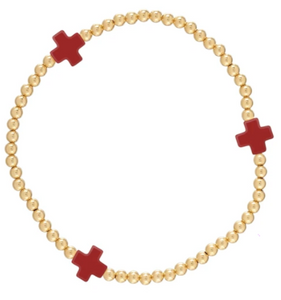 Red Signature Cross Gold Bead Bracelet - 3mm
