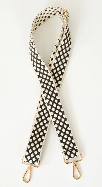Woven Black & Cream Dot Purse Strap