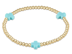 Turquoise Signature Cross Gold Bead Bracelet - 3mm