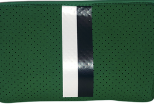 Green/Navy/White Neoprene Messenger Zip Pouch