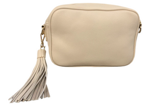 Cream Zip Top Bag with Tassel
