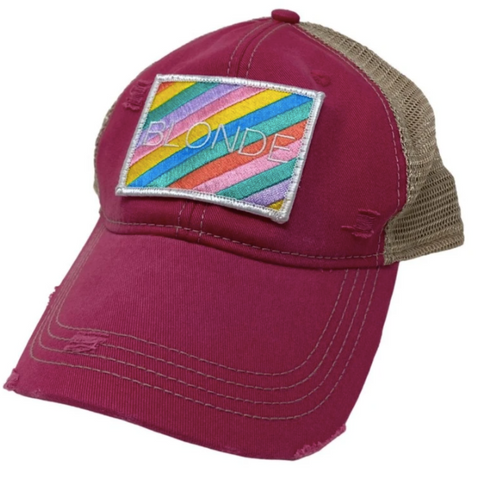 Rainbow Blonde Patch Hat