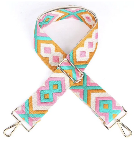 Orange/Pink/Teal Embroidered Bag Strap