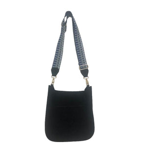 Black Suede Messenger with Embroidered Strap
