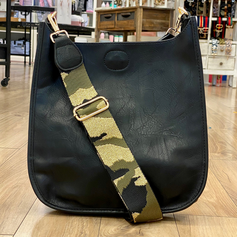 Black Messenger Bag with Camo Print Strap