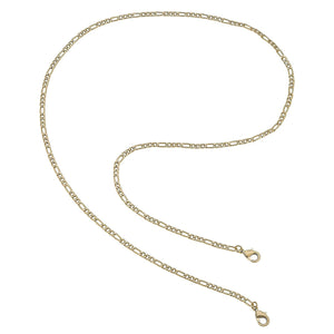 Soleil Figaro Chain Mask Necklace in Worn Gold - 32""