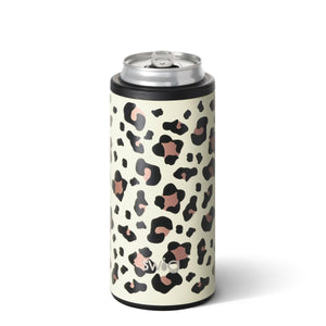 12oz Luxy Leopard Skinny Can Cooler