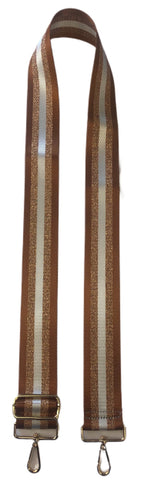 "2"" Adjustable Gold/White Stripe Bag Strap-GOLD"