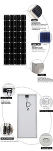 high quality mono solar panel 12v 24v  - 150w solar power panels - P & M Gear