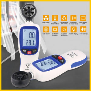 Digital Anemometer with Data Hold, Temperature / Wind Speed Velocity Anemometer Anemograph - P & M Gear