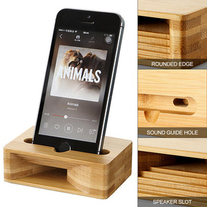 Bamboo Mobile Phone Holder and Sound Amplifier - P & M Gear