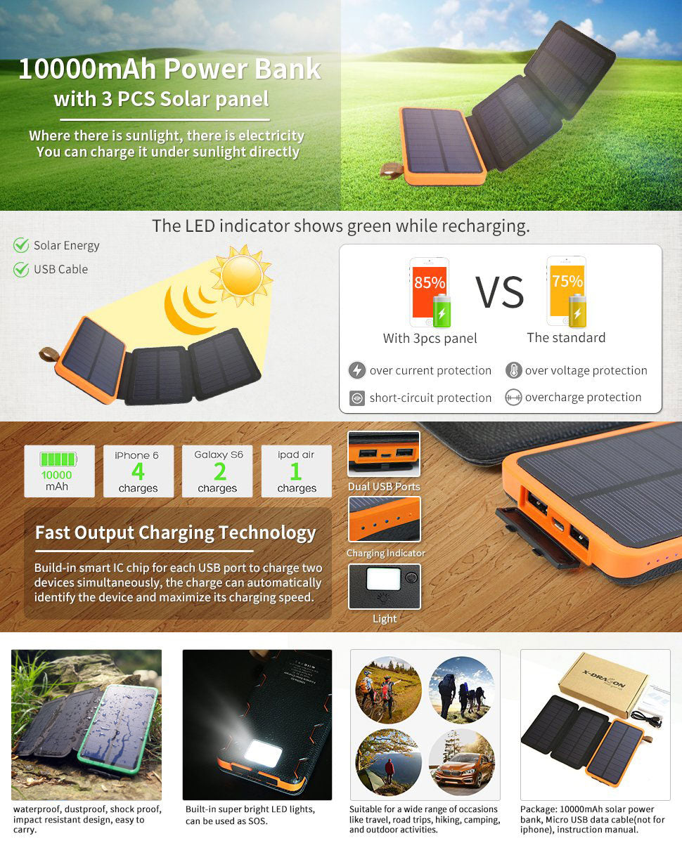 10000 mAh Solar Power Bank - External Battery - Charger - P & M Gear