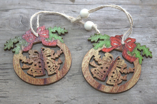 Pack of 2 Christmas Wooden Craft Decorations - Bells & Bow - P & M Gear