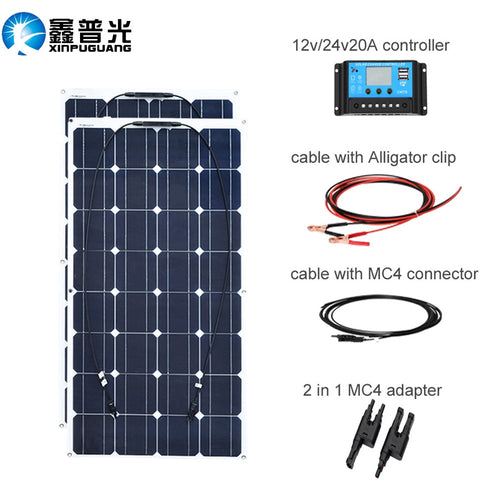 200w Solar panel system - 2X 100W Flexible solar panels and 100 w 12 volt 24 v solar Controller - P & M Gear