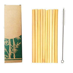 10pcs/set Bamboo Drinking Straws - Reusable - Eco-Friendly, with cleaning brush - P & M Gear