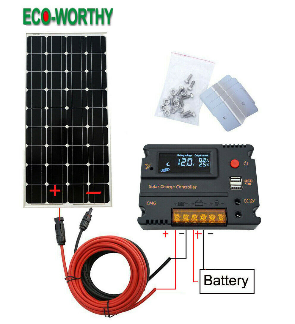 100W 12V Solar Panel Kit 20A Solar Charge Controller 12V 24V off grid RV Camper - P & M Gear