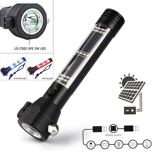Emergency Light, Solar Powered LED Torch with Safety Hammer - P & M Gear