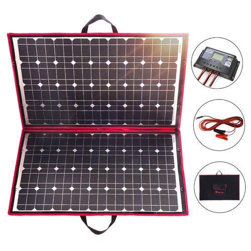 18v 100 W Folding Solar panel with Controller, ideal for Mobile Phone or Car Battery Charge. - P & M Gear