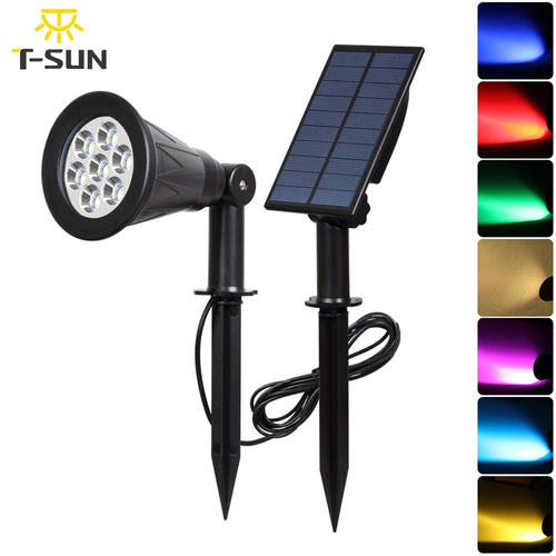 7 LED Solar Spotlight With Solar Panel Auto Color-Changing - P & M Gear