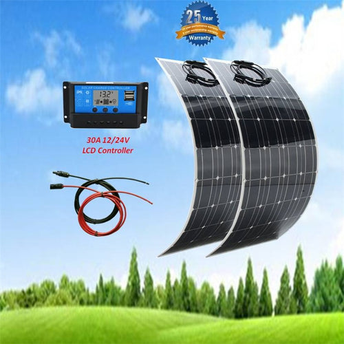 2 pcs 100w Solar Panel flexible 200W  kit 30A LCD Controller for 12V system - P & M Gear