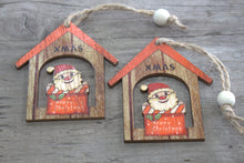 Load image into Gallery viewer, Pack of 2 Christmas Wooden Craft Decorations - Christmas Santa Gift - P & M Gear