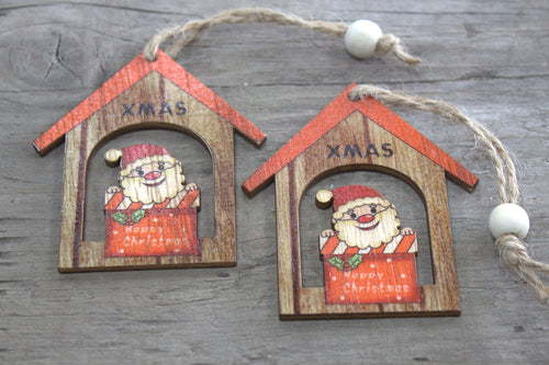 Pack of 2 Christmas Wooden Craft Decorations - Christmas Santa Gift - P & M Gear