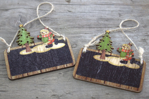 Pack of 2 Christmas Wooden Craft Decorations - Snowman & Tree - P & M Gear